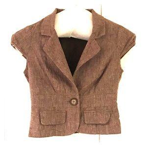 Heathered Brown Short Sleeve Jacket